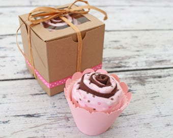 Baby Girl Gift, Baby Girl Shower Gift, Burp Cloth Cupcake, New Baby, Burp Cloth Set, Gift Set