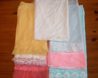 Vintage Ladies Lingerie Nighties Scraps - Vintage Blue Pink White Gold Nylon Lace Nightgown Fabric Pieces - Vintage Lace Nylon Scraps Lot