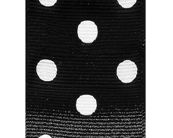 "1.5"" Grosgrain Polka Dots Ribbon- Black / White - Berwick Offray"