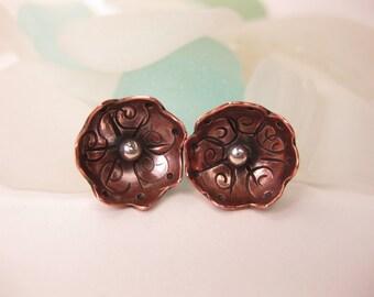 Stamped Copper & Sterling Flower Earrings