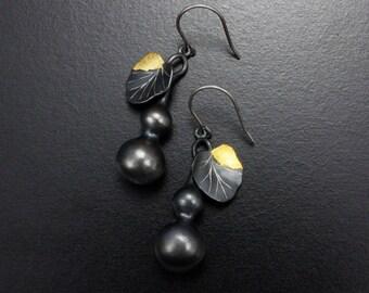 Gourd earrings, oxidized silver  earrings, Japanese earrings with fine gold leaf made by a Japanese artist