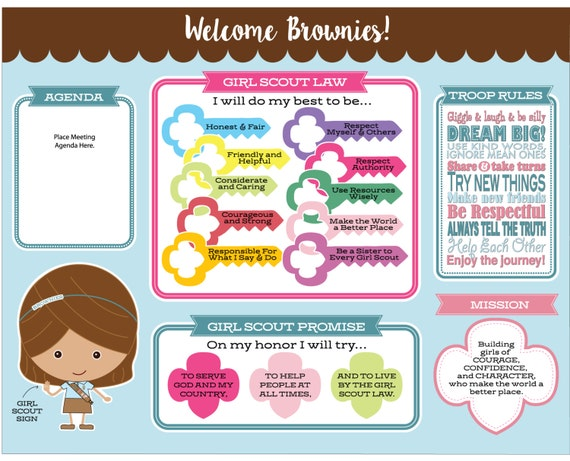 Brownie Girl Scout Promise Law Meeting Board Printable
