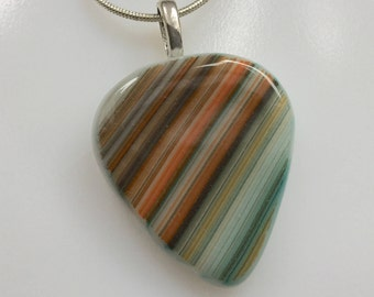 Guitar Pick Pendant, Fused Glass Jewelry, Orange Brown Art Glass Guitar Pick Necklace