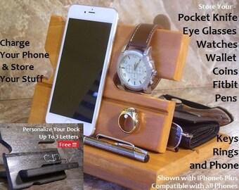 Desk Organizer, Desk Accessories, iphone Docking Station, Gifts for Men, Dorm Decor, Wood Desk Organizer
