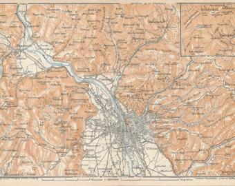 1929 Graz Austria Antique Map