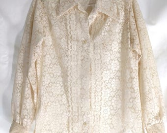 Vintage Beige Lace Blouse Button Up Shirt, Little House Creations, Boho Top, Size S, Sheer Floral Lace, 1970's, Classic Lace