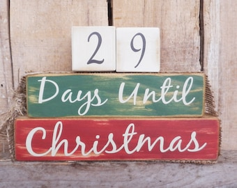 Countdown  blocks, days until (weeks until)  Christmas, Rustic Christmas countdown, Christmas decoration, Christmas blocks, Holiday blocks