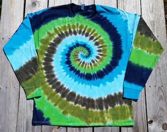 Men's Long Sleeve Tie Dye Shirt, Adult Plus Size XXL 3XL 4XL 5XL Green and Blue Tie Dye Tshirt, Hippie Shirt, Men's Tie Dye, Women's Tie Dye