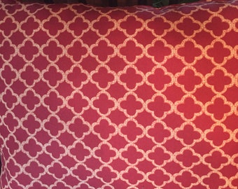 Pillow, Hand Made, Hand Sewn, Machine Washable, Hypoallergic, Fiber-fill, Lattice Pattern, Rust Color