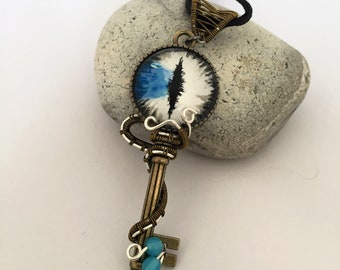 Wire wrapped key pendant with hand painted dragon eye.