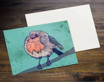 Chilly Robin - A6 Postcard of a Puffed Up Little Robin Red Breast! - Beautiful Quality Print On 300gsm Card Stock