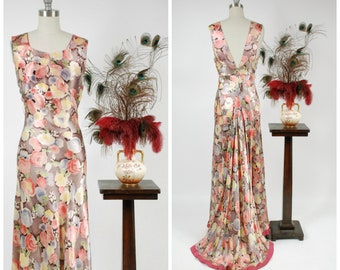 Vintage 1930s Dress - Summer 2018 Lookbook - Lustrous Rayon Satin 30s Evening Gown in Soft Watercolor Floral with Dramatic Train