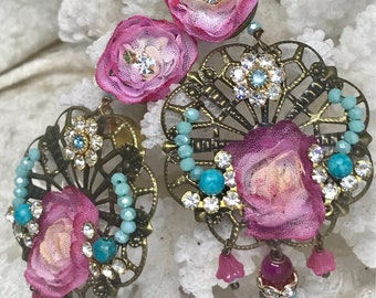 Lilygrace Marie Antoinette Pink and Turquoise Flower Earrings with Vintage Rhinestones
