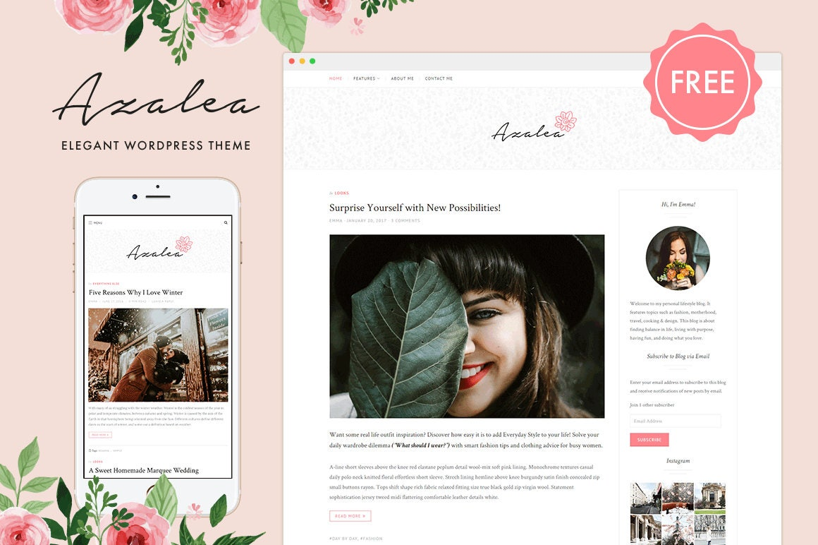 Azalea Free Feminine WordPress Theme from justgoodthemes on Etsy Studio
