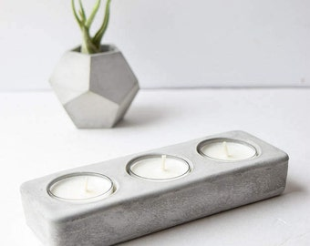 Concrete Tea Light Holder - Tea Light Holder - Wedding Centerpiece - Concrete Table Centerpiece - Modern Candle Holder - Patio Candle Holder