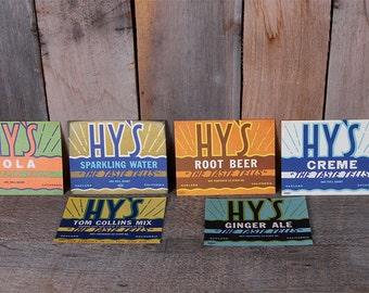 Lot 1940s Unused Hys Brand Drink Beverage Labels 6 Flavors