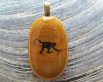 0067 - Monkey Fused Glass Pendant
