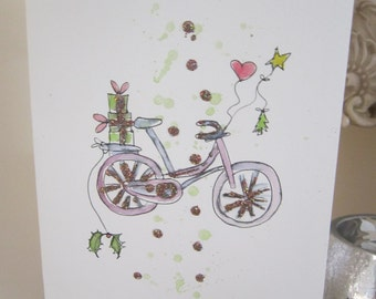 watercolour card, Xmas card, hand painted card, son card, daughter card, husband card, wife card, bicycle card, personalise, handmade card