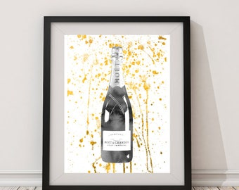 Grey,Gold,champagne bottle,celebration,watercolor,gift for women,champagne wall art,champagne print, champagne poster,champagne art, Kitchen
