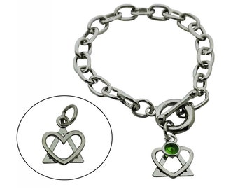 Adoption Symbol Bracelet with Birthstone - Adoption Triad Bracelet - Heart and Triangle Bracelet