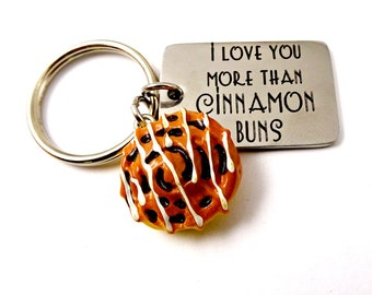 I Love You More Than Cinnamon Buns - Rolls - Keychain or Necklace - Key Ring - Men Women Spouse Husband - Valentine's Day