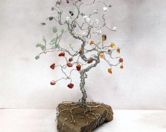 Chakra Gem Tree, Gemstone Tree, Chakra Art, Yoga Gifts, Reiki Gifts, Healing Decor