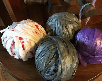 Plarn plastic yarn balls