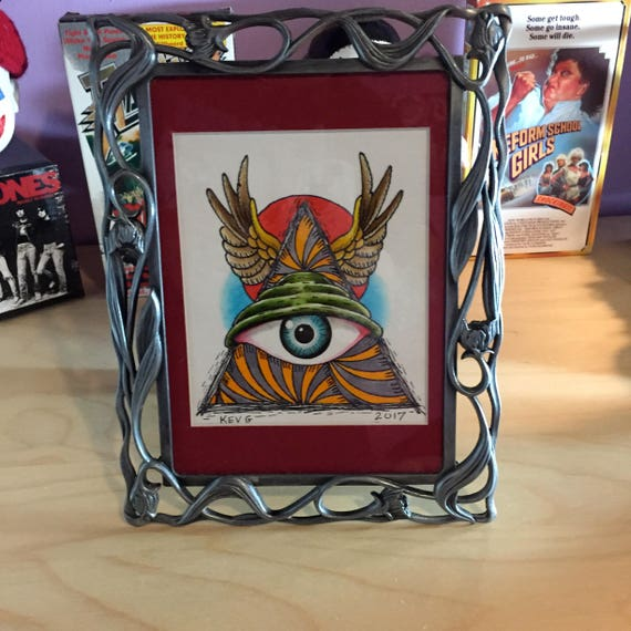 illuminati watercolor art painting framed tattoo all seeing
