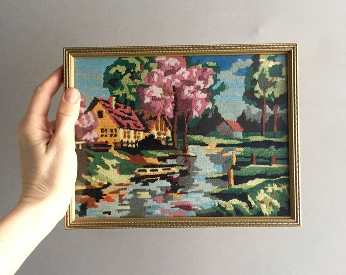 1950s needlepoint tapestry/ embroidered picture