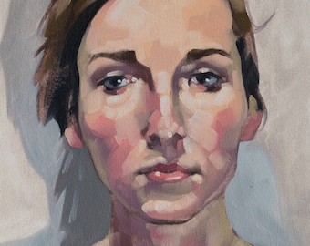 "Oil Painting Portrait, Original Fine Art, Female Gaze Contemporary Figurative Art, Loose Oil Painting - ""Ruddiness"""