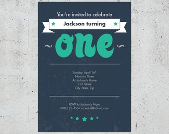1st Birthday Invitation for Boy or Girl | Printable DIY | Color Customizable