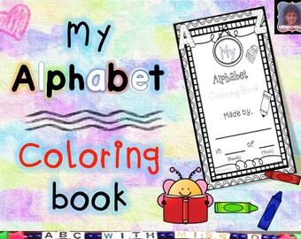 Kid's Printable Alphabet Coloring Book-ABC Book Coloring Pages-Kindergarten-PreK-Preschool-DayCare-Homeschool Learning Activity