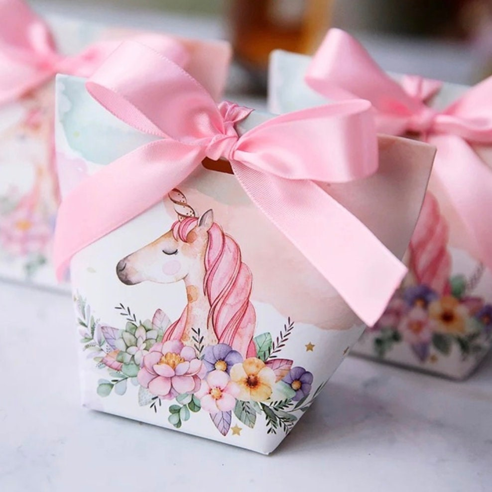 50/lot Adorable Pink Unicorn Favor Boxes w/ Pink Ribbons