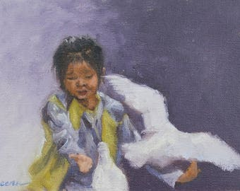 "Original Art, Original Oil Painting, Wall Art, Wall Decor, Home Decor, Original Figure Painting, ""Feeding the Birds"", 5x7 inch"