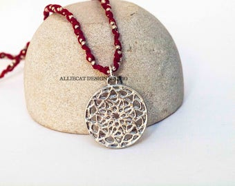 Boho Necklace | Bohemian Necklace | Boho Red Silver Twisted Necklace