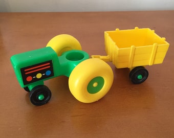 Vintage Fisher-Price Little People Green Tractor & Yellow Hay Cart for Farm Barn Playset