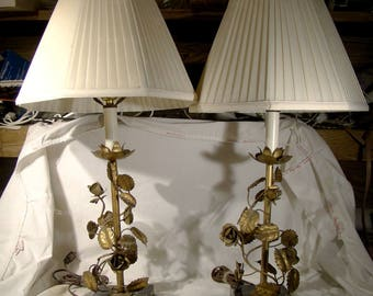 Pair Gilt Brass Roses Metalwork Table Lamps with Marble Bases 1930s 1940s