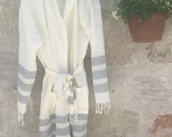 Turkish towel robe, Father's day gift, Unisex, Ecofriendly, Beach, SPA, Pool, Turkish Cotton robe, Bachelor party, bridesmaid gift, gray