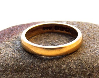 Vintage 22ct Gold Wedding Ring, Gold Band Ring, 22ct Ring, Wedding Ring, Hallmarked Gold Ring, 3mm Band, K 1/2, 5.5, 1979