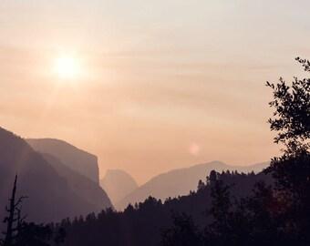Yosemite - Half Dome - California Photo - Travel Photography - Sunrise Photo - Fine Art Photography Print - Peach Black Home Decor