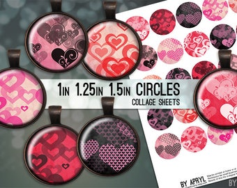 Valentines Day Hearts 1 inch 1.25 and 1.5 Circles Digital Collage Sheet for Glass and Resin Pendants Bottle Caps Digital Download JPG