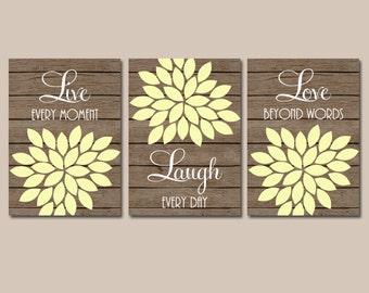 Live Laugh Love Wall Art, Bedroom Canvas or Prints Bathroom Decor, Bedroom Wall Decor, Flower Wall Art, Flower Burst Dahlia Set of 3 Art
