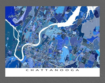 Chattanooga Map, Chattanooga TN City Map Art, Tennessee Map Prints