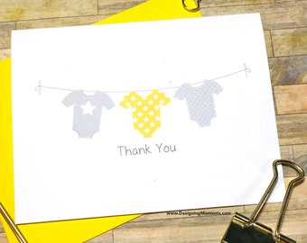 Gender Neutral Baby Shower Thank You Cards - Grey and Yellow Bodysuit Clothesline Thank You Cards - Thank You - Baby Stationery Cards