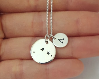 Sterling Silver Aries Necklace, Personalized Jewelry, Initial Zodiac Necklace, Constellation Necklace, Mother's Gift, Birthday Gift