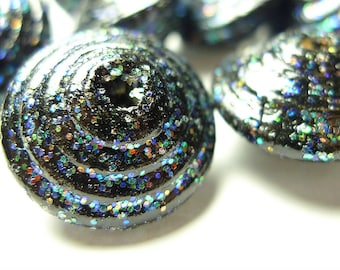 Vintage wooden beads with glitter