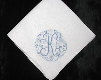 Blue monogrammed handkerchief, initial K monogrammed M N E A R S F G or H engagement gift Idea, embroidered keepsake hankerchief hankies