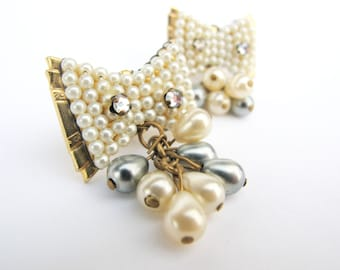 Art Deco Bows - Vintage Ivory Pearl Clip Earrings, with cascading pearl dangle, Bridal, Retro