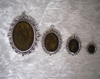 set of pendants, cabochon, silver metal, 4 pieces assorted creations