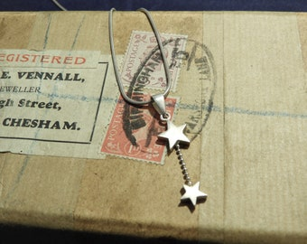 "Sterling silver star pendant necklace - 925 - sterling silver - 18"" necklace 1.5"" pendant - j"